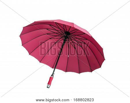 Colorful umbrella for protection against sun and rain isolated on white background with clipping path.