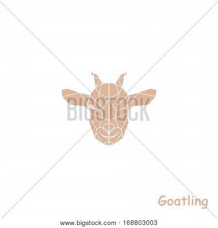 Geometric head of goatling. Polygonal Vector illustration.
