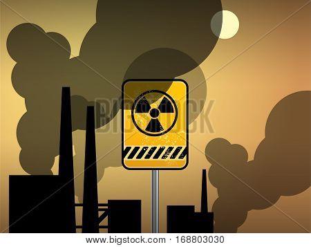 Nuclear danger polution warning background, vector illustration