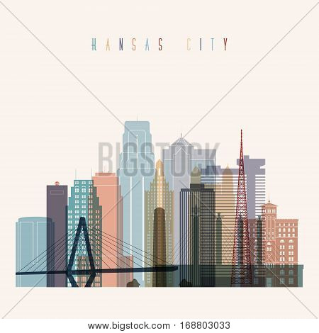 Transparent style Kansas City state Missouri skyline detailed silhouette. Trendy vector illustration.