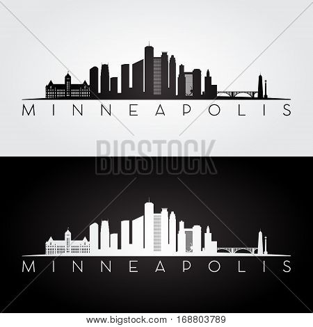 Minneapolis USA skyline and landmarks silhouette black and white design vector illustration.