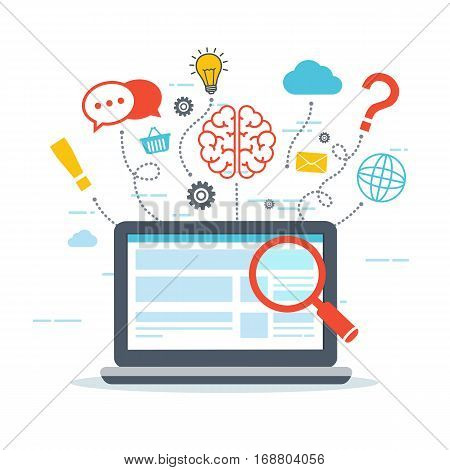 Web analytics and Information. SEO optimization. Digital marketing concept. Thinking from a laptop.