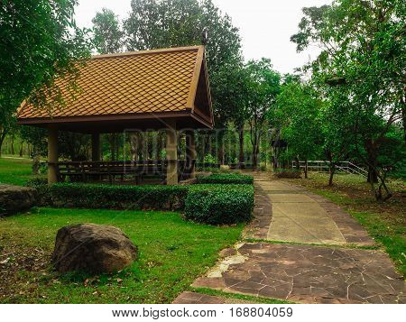 pavilion and green tree in the garden