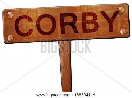 Corby road sign, 3D rendering