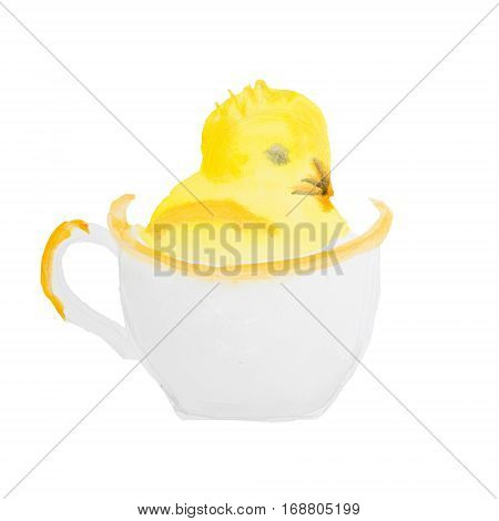 easter chick in the cup isolated on white background
