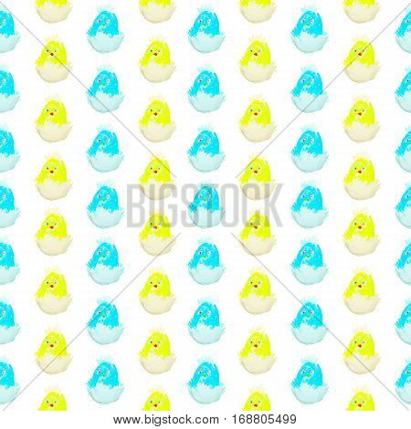 easter chick hatching from an egg pattern isolated.