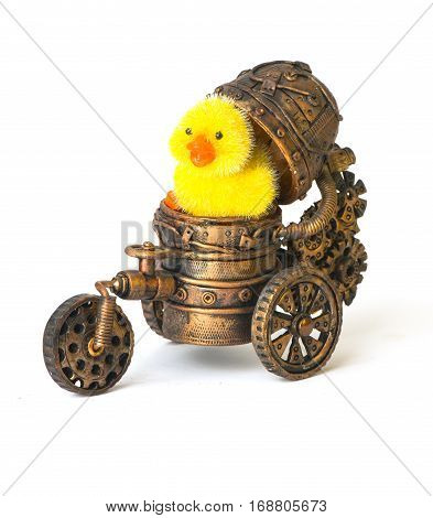 Steampunk robot and chick Easter Rabbit egg tool. Cyberpunk style. Chrome bronze parts. Isolated on white. car