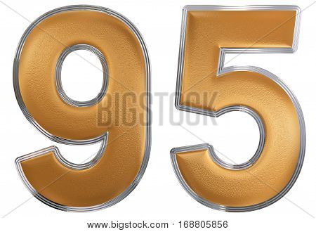 Numeral 95, Ninety Five, Isolated On White Background, 3D Render