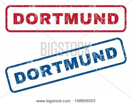Dortmund text rubber seal stamp watermarks. Vector style is blue and red ink tag inside rounded rectangular shape. Grunge design and unclean texture. Blue and red stickers.