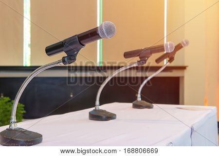 Microphone Ready For Presentations In Conference Room