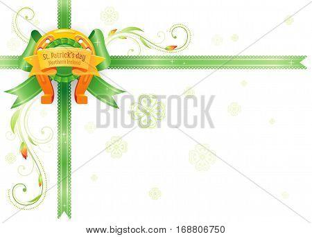 Golden lucky horseshoe corner. Ribbon bow decoration. Happy Saint Patrick day border banner, isolated background. Irish celtic coat of arms, shamrock icon, plant frame. Northern Ireland holiday flyer