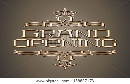 Grand opening vector illustration or background with golden lettering. Template banner or advertising design element for opening ceremony