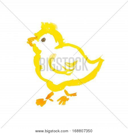 easter yellow chick isolated on white background