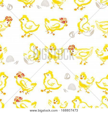 easter chick hatching from an egg pattern isolated