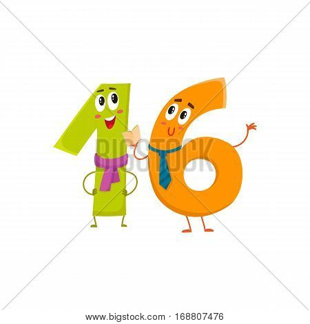 Cute and funny colorful 16 number characters, cartoon vector illustration isolated on white background. sixteen smiling characters, birthday greetings, anniversary