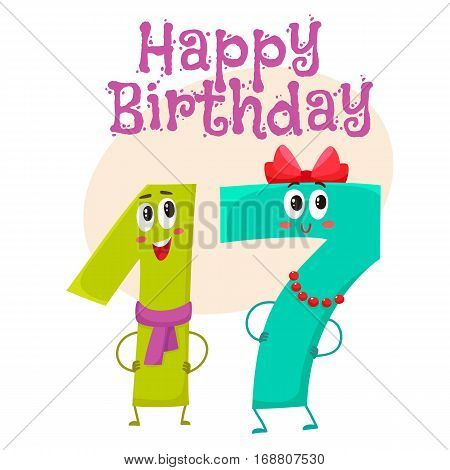 Happy birthday vector greeting card, poster, banner design with cute and funny seventeen number characters. seventeen smiling characters, happy birthday greeting card template