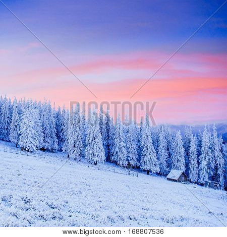 cabin in the mountains in winter, majestic landscape