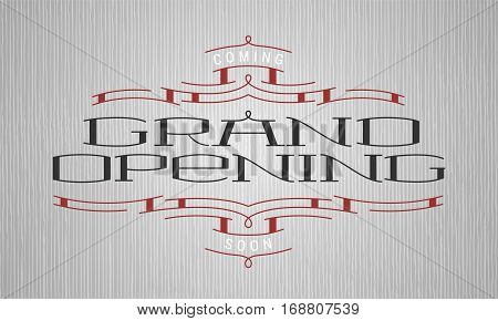 Grand opening vector illustration. Nonstandard graphic design element with lettering for opening ceremony can be used as banner