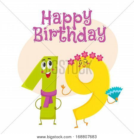 Happy birthday vector greeting card, poster, banner design with cute and funny nineteen number characters. nineteen smiling characters, happy birthday greeting card template