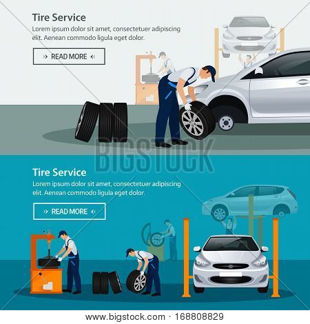 Car repair service flat horizontal banner different workers in the process of repairing the car tire service diagnostics replacement spare parts. Vector illustration