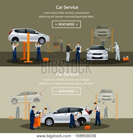 Car repair service flat horizontal banner different workers in the process of repairing the car tire service diagnostics vehicle painting window replacement spare parts. Vector illustrationn