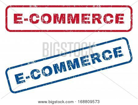 E-Commerce text rubber seal stamp watermarks. Vector style is blue and red ink caption inside rounded rectangular shape. Grunge design and scratched texture. Blue and red signs.