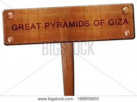 great pyramids of giza road sign, 3D rendering