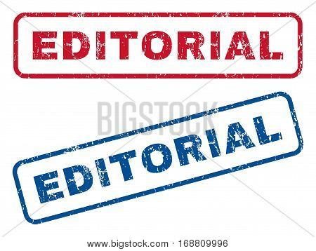 Editorial text rubber seal stamp watermarks. Vector style is blue and red ink caption inside rounded rectangular banner. Grunge design and dirty texture. Blue and red signs.
