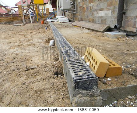 Rainwater Drainage System Installation. Drainage System in Building