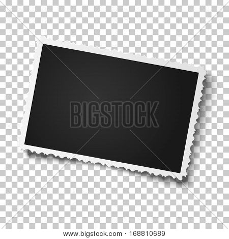 Retro realistic vector photo frame with figured edges slightly tilted to the right placed horizontally on transparent background. Template photo design.
