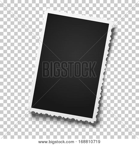 Realistic vector retro photo frame with figured edges slightly tilted to the right placed vertically on transparent background. Template photo design.