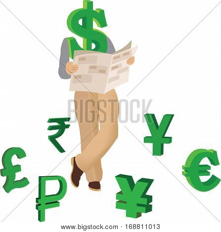 Dollar reading business paper surrounded by international currencies