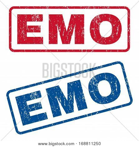 Emo text rubber seal stamp watermarks. Vector style is blue and red ink tag inside rounded rectangular banner. Grunge design and dust texture. Blue and red signs.