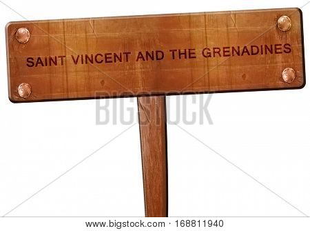 saint vincent and the grenadines road sign, 3D rendering