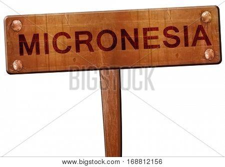 Micronesia road sign, 3D rendering