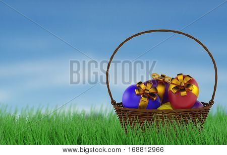 Basket of Easter eggs in Fresh Green Grass. 3d rendering
