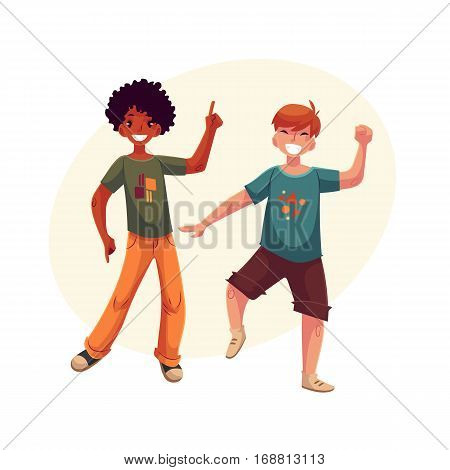 Full length portrait of african amercian teenaged boy in orange jeans dancing, cartoon style vector illustration isolated on yellow background with place for text. Smiling two boys dancing