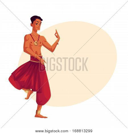 Indian male dancer in traditional harem pants, cartoon vector illustration on background with place for text. Traditional Indian male dancer wearing baggy pants and ankle brecelets Bollywood performer