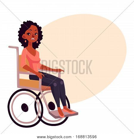Young black woman sitting in wheelchair, cartoon vector illustration on background with place for text. African American woman sitting in wheelchair living with disability, equal opportunities concept