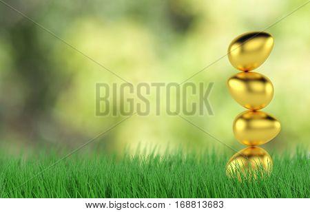 Golden Easter eggs in Fresh Green Grass. 3d rendering