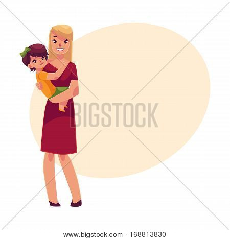 Happy mother holding her son in hands, cartoon vector illustrations on background with place for text. Pretty young smiling woman with little son in her hands, happy family concept