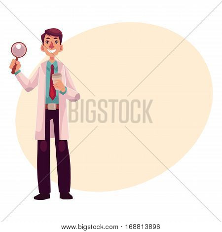 Smiling male dermatologist doctor standing with magnifying glass in one hand, cartoon vector on background with place for text. Male dermatologist, healthcare professional holding magnifier