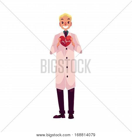 Male cardiac surgeon in lab coat holding heart with pulse shown on it, cartoon vector illustration isolated on white background. Male cardiac surgeon doctor, heart disease specialist, cardiologist