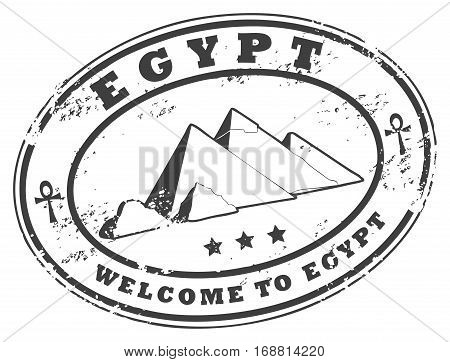 Grunge rubber stamp with Pyramids of Giza, vector
