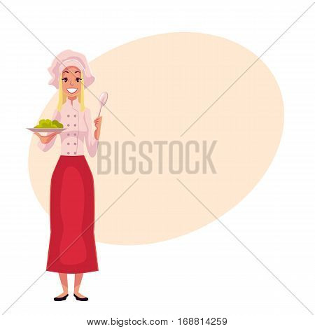 Young and handsome female chef, cook, waitress in white uniform holding a plate, cartoon vector illustration on background with place for text. Full length portrait of restaurant, cafe female cook