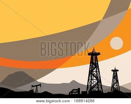 Oil Pump and abstract sunset background, vector