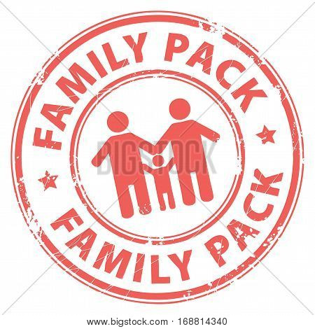 Grunge rubber stamp with the text Family Pack inside