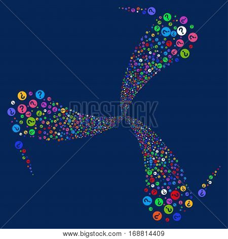 Query fireworks swirl rotation. Vector illustration style is flat bright multicolored iconic symbols on a blue background. Object whirlpool made from random design elements.
