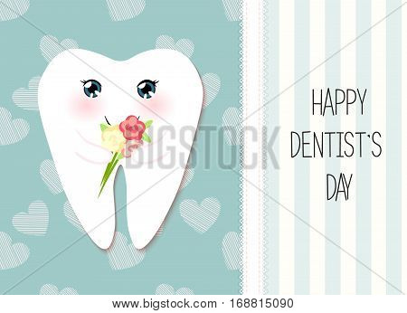 Cute greeting card Happy Dentist Day as funny smiling cartoon character of tooth with flowers