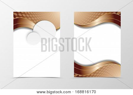 Front and back wave flyer template design. Abstract template with gray paper circles and brown curved lines in wavy style. Vector illustration